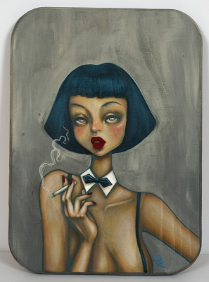 ''Chloe'' original painting on wood by SAKI&Bitches