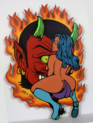 ''Devil's Ride'' original painting on wood by SAKI&Bitches