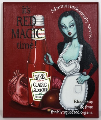 ''Red Magic Time'' original painting on wood by SAKI&Bitches