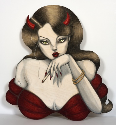 ''Smoking Devil'' original drawing on wood by SAKI&Bitches