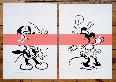 ''Mickey (Pink Stripe)'' & ''Minnie (Pink Stripe)'' - screenprints by Carl Stimpson