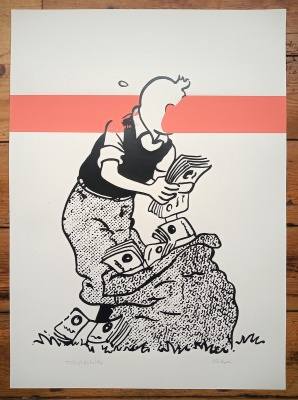 Tintin (Pink Stripe) limited edition screenprint by Carl Stimpson