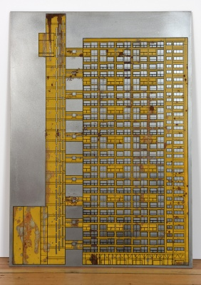 ''Trellick Tower, London'' screenprint on steel by Daniel Speight
