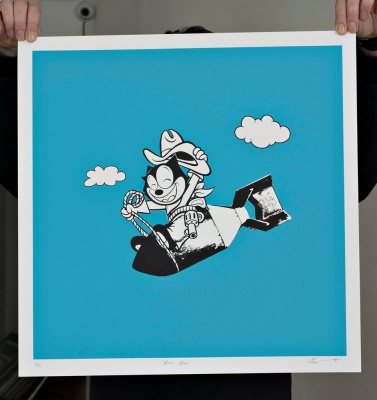 ''Kitty Kong'' limited edition screenprint (blue) by Dan Sherratt