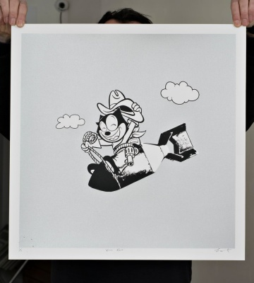 ''Kitty Kong'' limited edition screenprint (silver) by Dan Sherratt