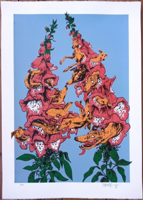 ''Foxgloves and Hounds'' limited edition screenprint by Stedhead