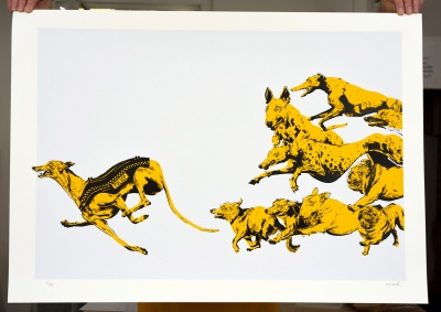 ''The Chase'' limited edition screenprint by Stedhead