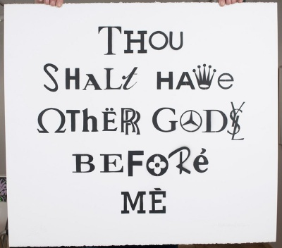 ''Thou shalt have other gods'' stencil art by Nick Smith