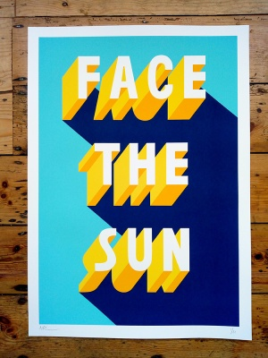 ''Face The Sun'' limited edition screenprint by Survival Techniques