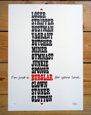 ''Love Burglar'' limited edition screenprint by Beyond Thrilled