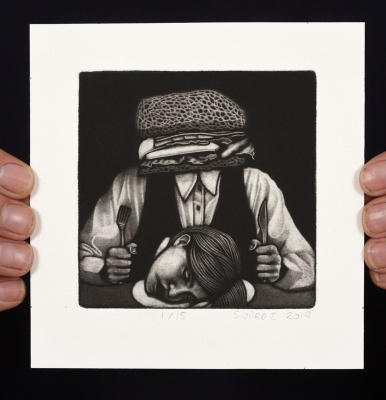 ''Sandwich Head'' limited edition mezzotint print by Sjoerd Tegelaers