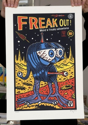 ''Freak Out!'' screenprint by Frederic Voisin