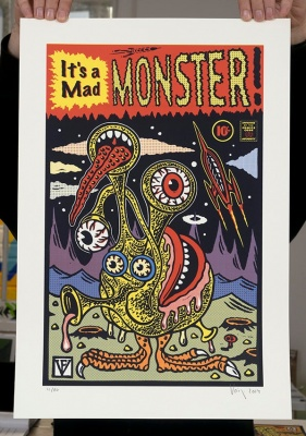 ''It's a mad mad monster'' screenprint by Frederic Voisin