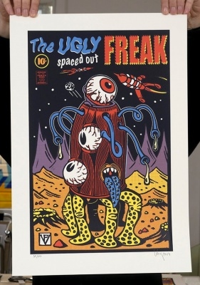 ''The Ugly Spaced Out Freak'' screenprint by Frederic Voisin