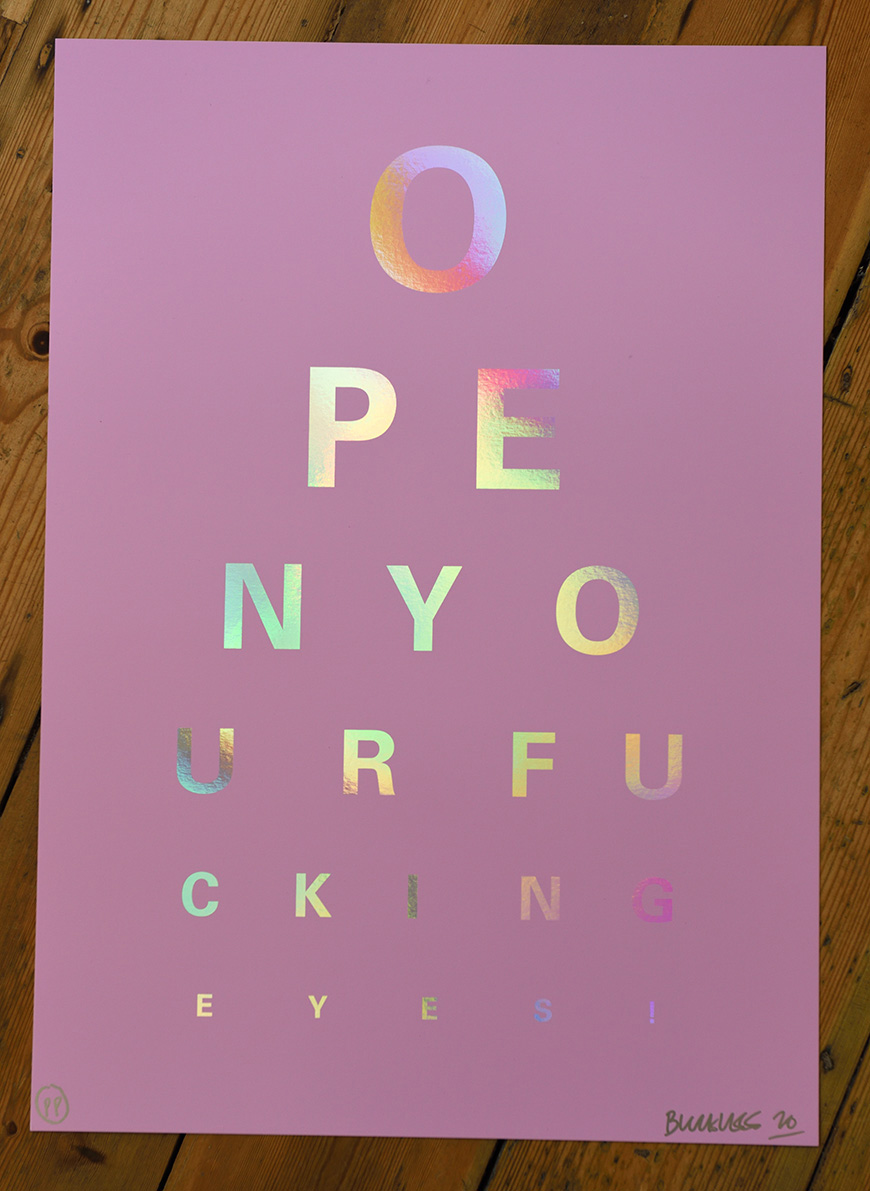 ''Rainbow Eye Test (pink)'' limited edition screenprint on Holographic card by Alex Bucklee