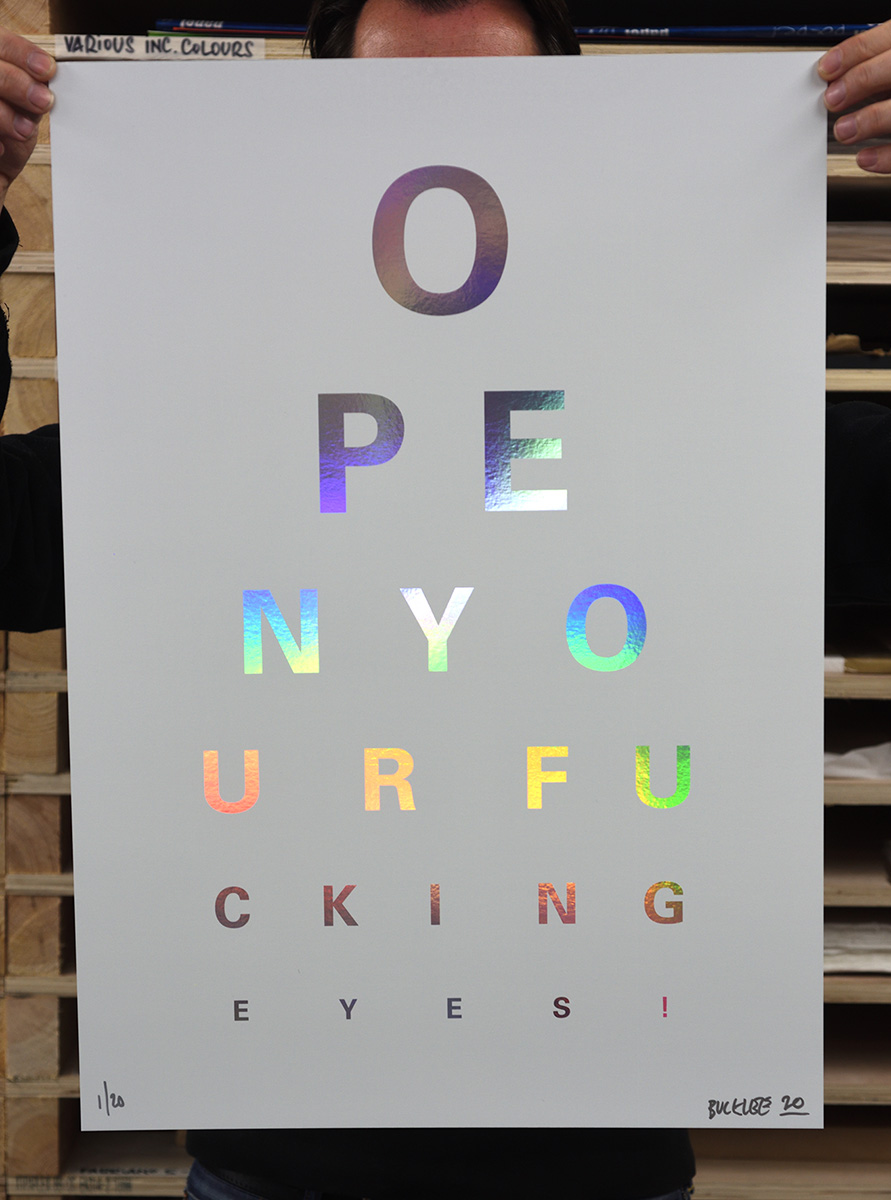 ''Rainbow Eye Test (white)'' screenprint on Holographic card by Alex Bucklee