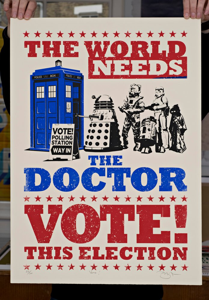 ''The world needs the Doctor'' screenprint by Barry D Bulsara