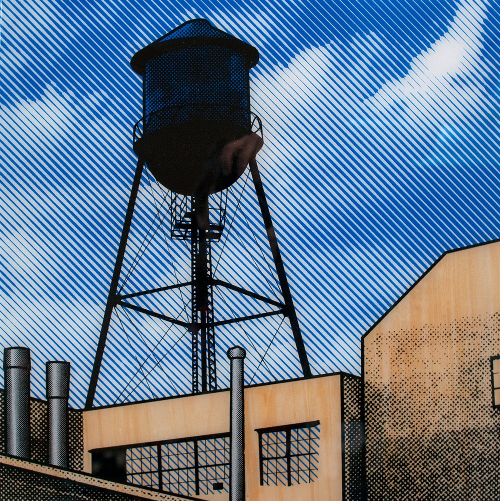 ''Brooklyn Water Tower'' screenprint on wood by Gerry Buxton