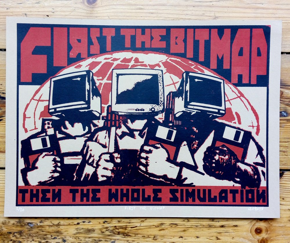 ''First the bitmap'' screenprint by Leo Boyd