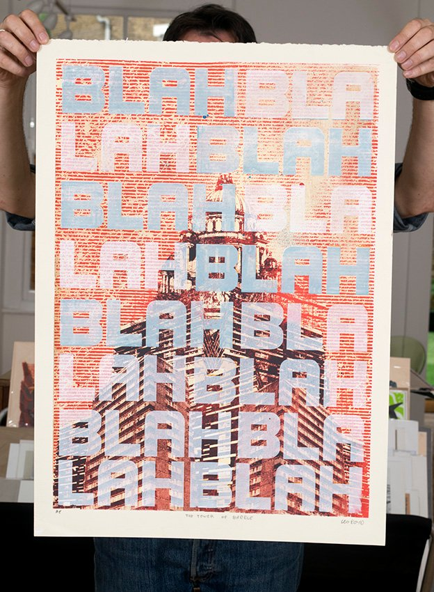 ''The Tower of Babble'' screenprint by Leo Boyd