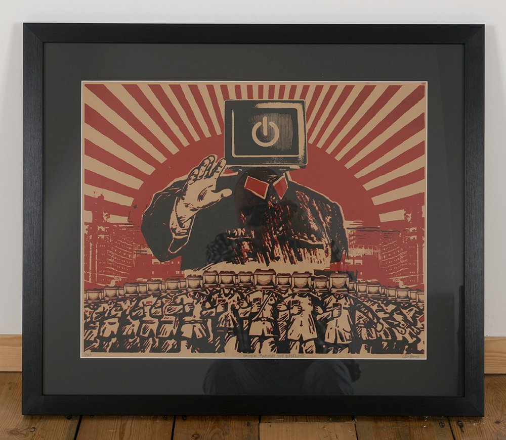 ''United against the baseline'' screenprint by Leo Boyd