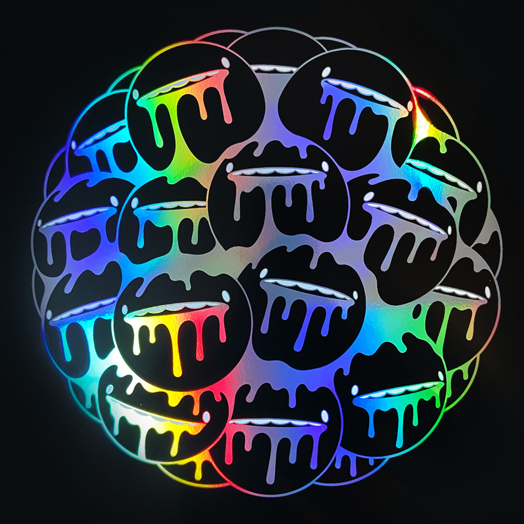 ''Dribble Nucleus'' screenprint on holographic paper by Choots