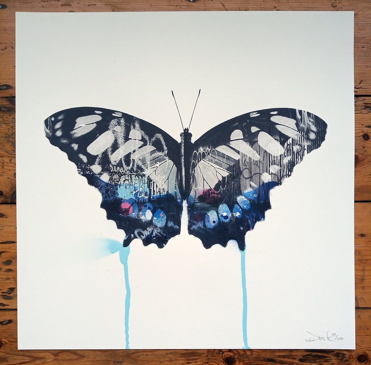 ''Graffiti Butterfly (Blue)'' limited edition screenprint by Donk