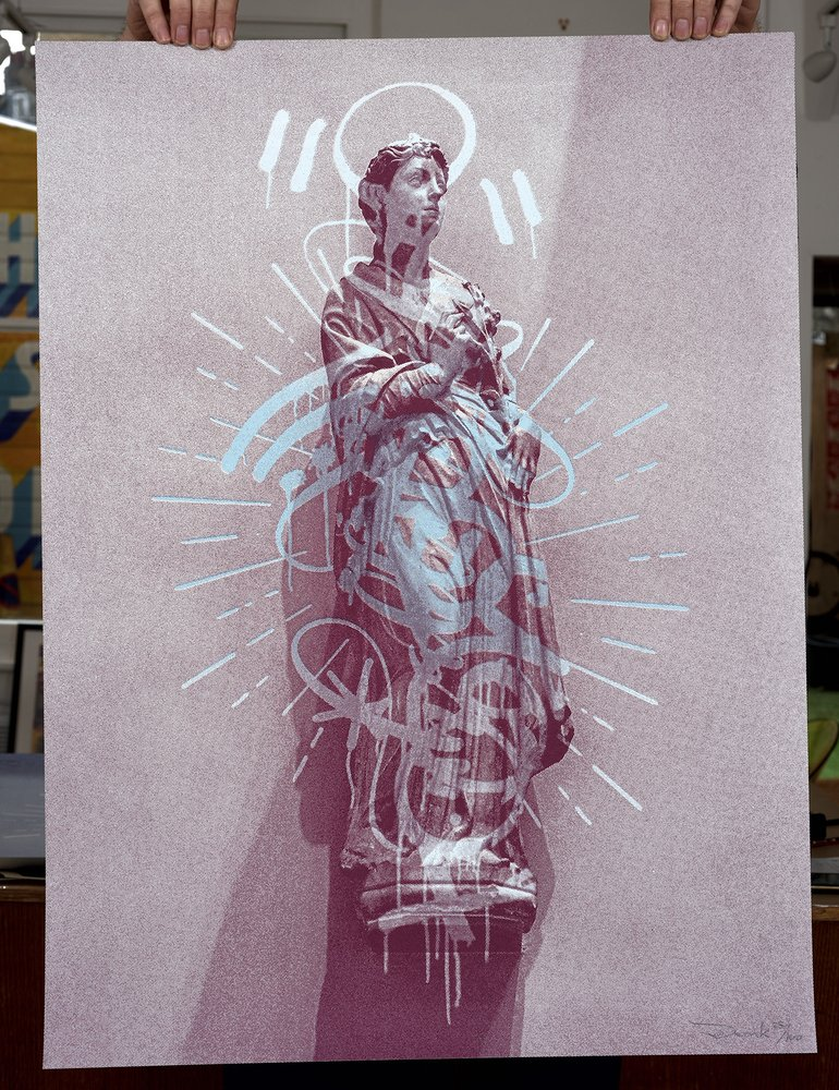''Graffiti Halo (Pink)'' limited edition screenprint by Donk