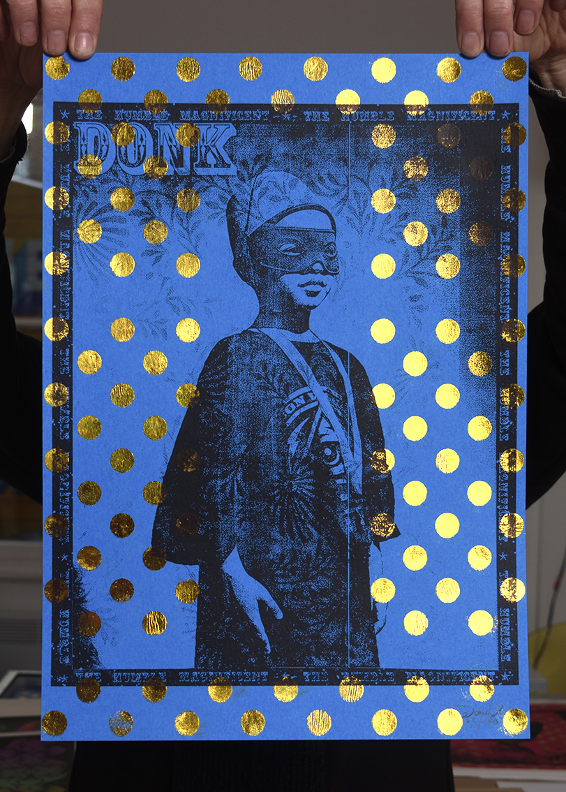 ''The Humble Magnificent (blue)'' limited edition screenprint by Donk