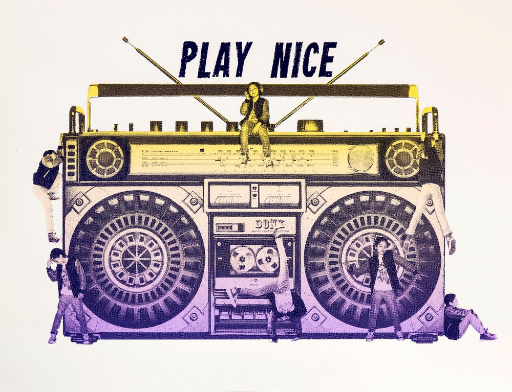 ''Play Nice'' limited edition screenprint by Donk