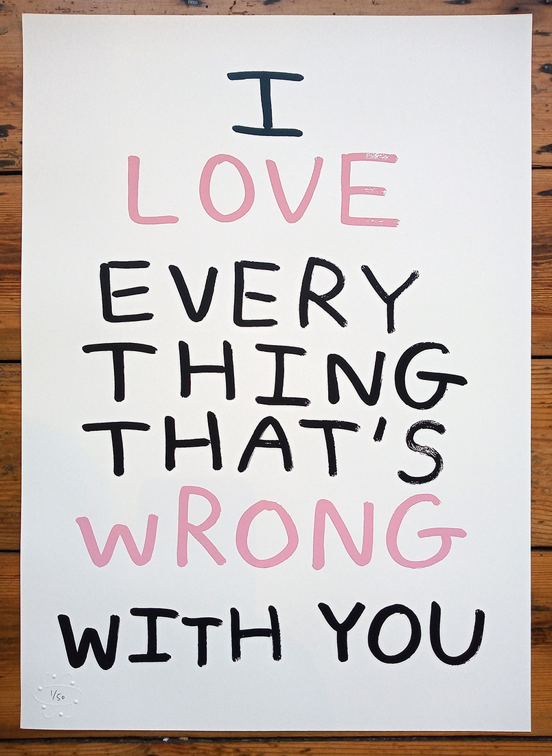''Everything that's wrong'' limited edition screenprint by Babak Ganjei