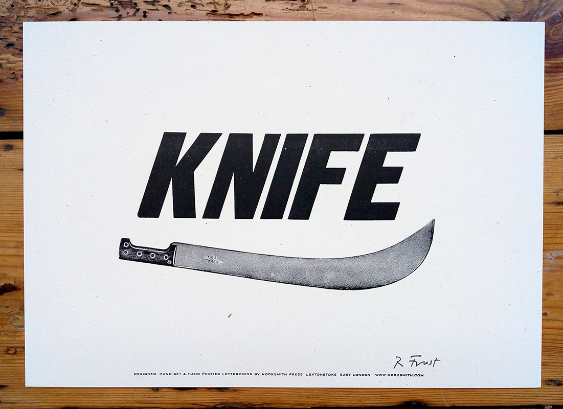 ''Knife'' letterpress print by Hooksmith