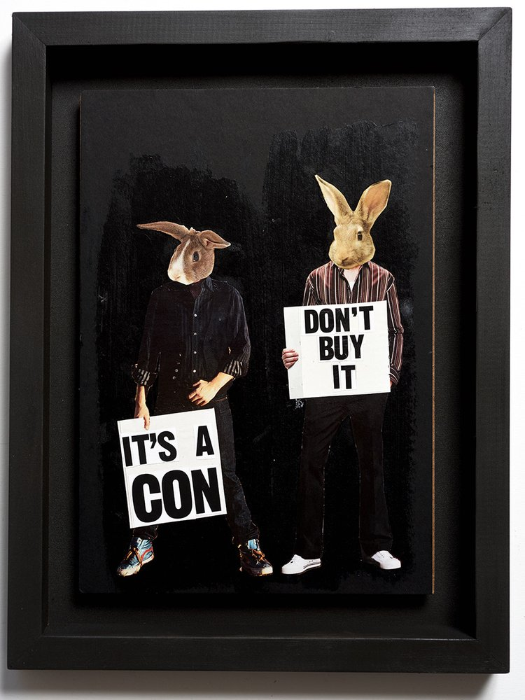 ''Don't buy it'' original collage by Benjamin Irritant