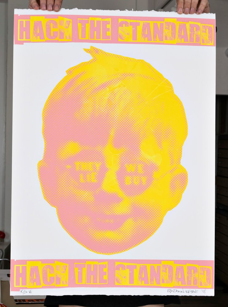 ''Hack the standard'' screenprint (yellow, pink) by Benjamin Irritant
