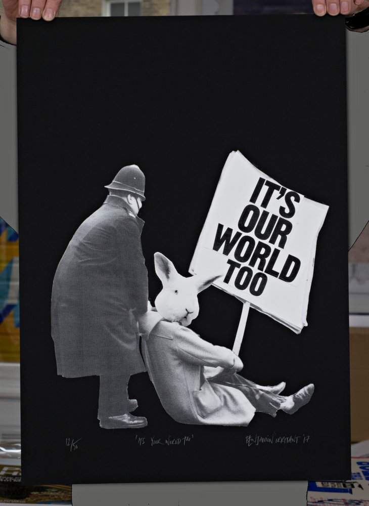 ''It's your world too'' limited edition screenprint by Benjamin Irritant