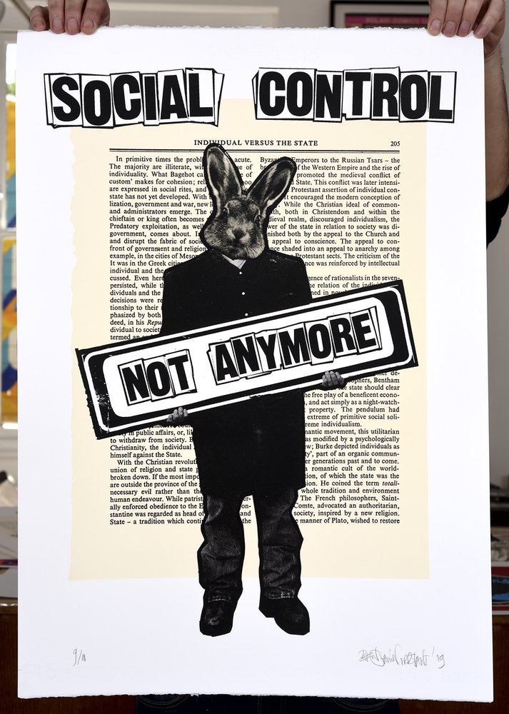 ''Social Control'' limited edition screenprint by Benjamin Irritant