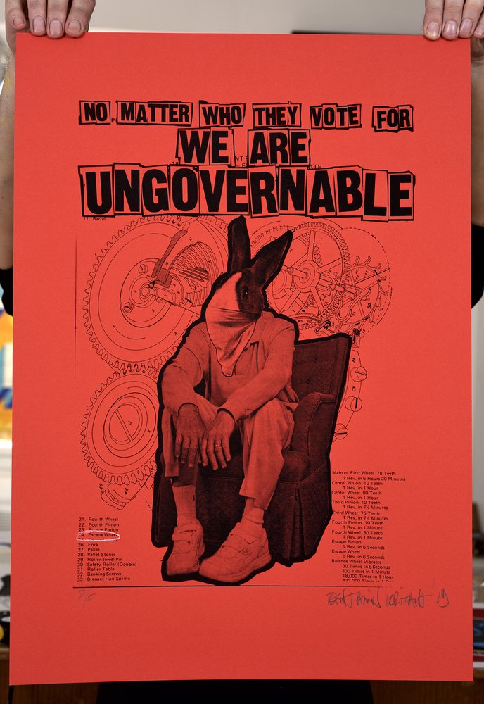 ''We are ungovernable'' (red) limited edition screenprint by Benjamin Irritant