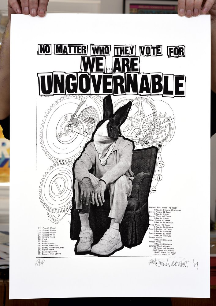 ''We are ungovernable'' (white) limited edition screenprint by Benjamin Irritant