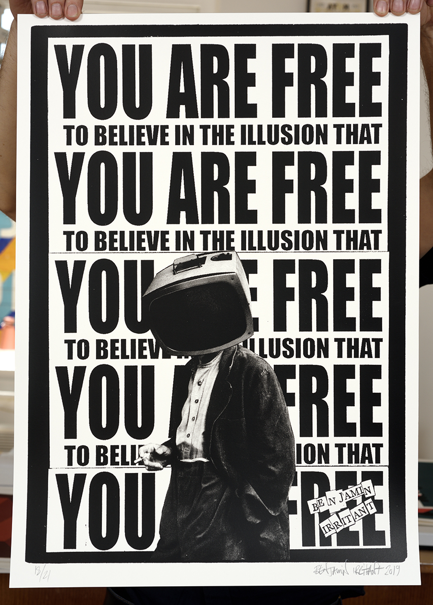 ''You are free...'' limited edition screenprint by Benjamin Irritant