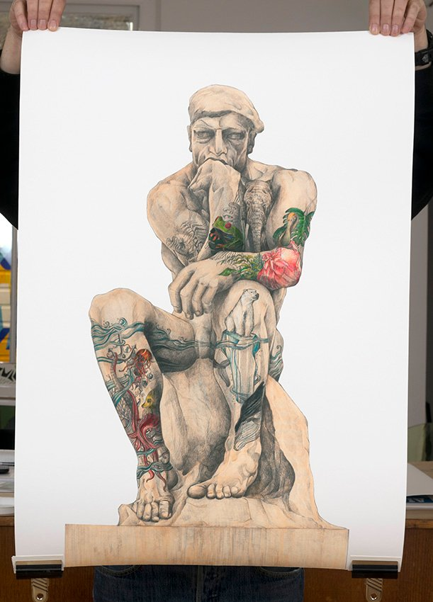 ''Tattooed Thinker'' limited edition giclee print by Jose Madrid