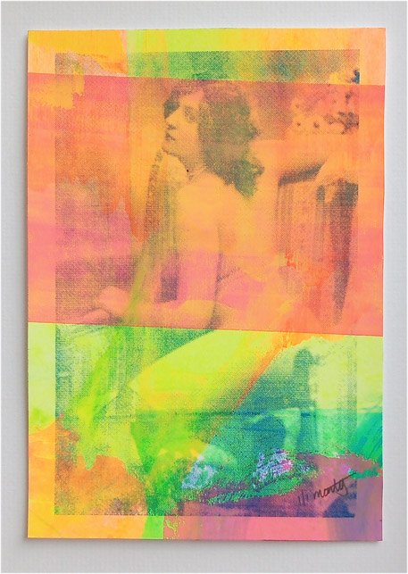 ''Neon Nude 4'' monoprint screenprint by Montez Makes