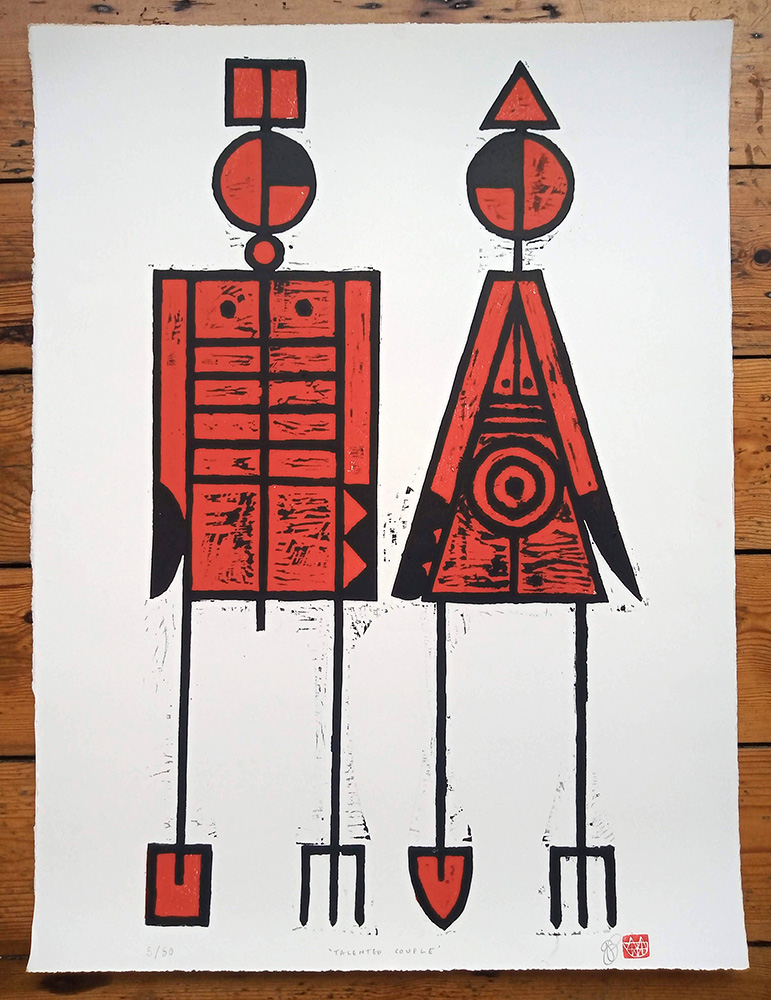 ''Talented Couple'' limited edition woodcut print by John Pedder
