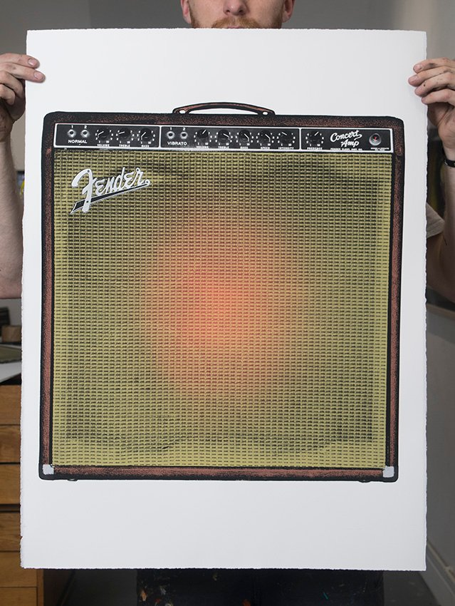 ''Fender concert amp'' (red) screenprint by Mark Perronet