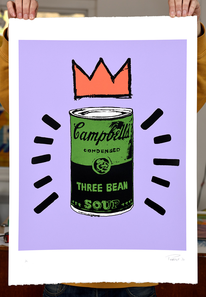 ''Three Bean Soup - lilac'' limited edition screenprint by Mark Perronet