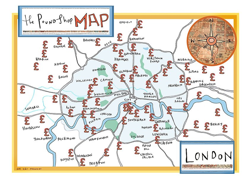 ''Pound Shop Map'' print by Sian Pattenden