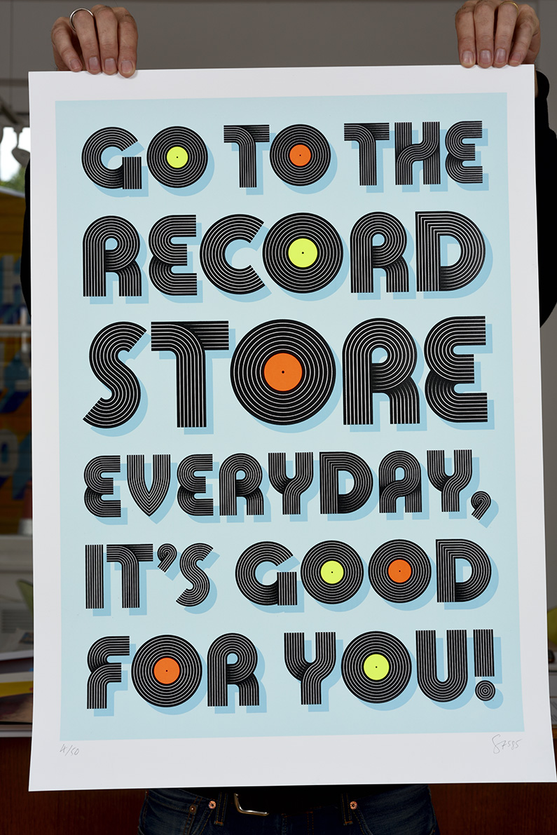 ''Records are good for you'' limited edition screenprint by Serigrafica7585