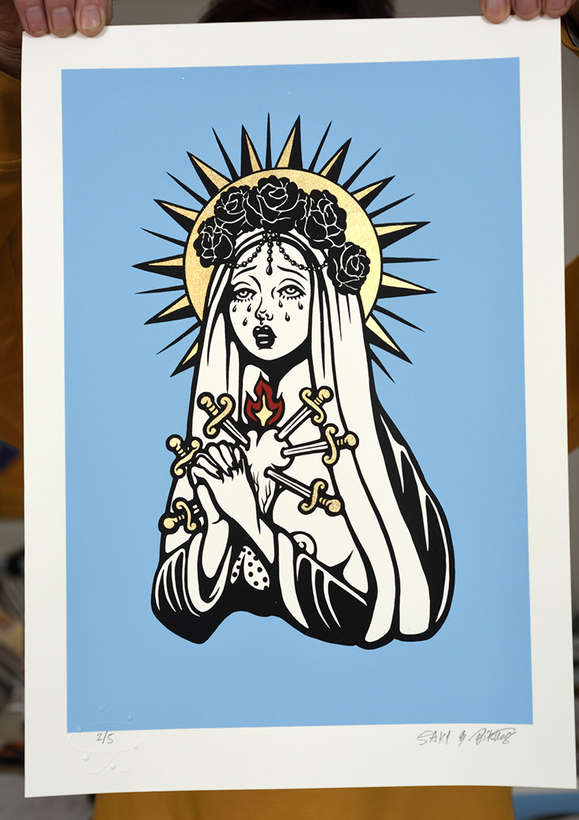 ''Chinko Maria'' limited edition screenprint with gold leaf by SAKI&Bitches