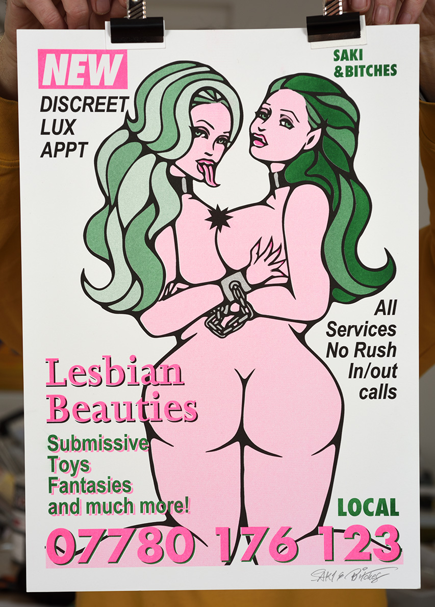 ''Lesbian Beauties'' risograph print by SAKI&Bitches