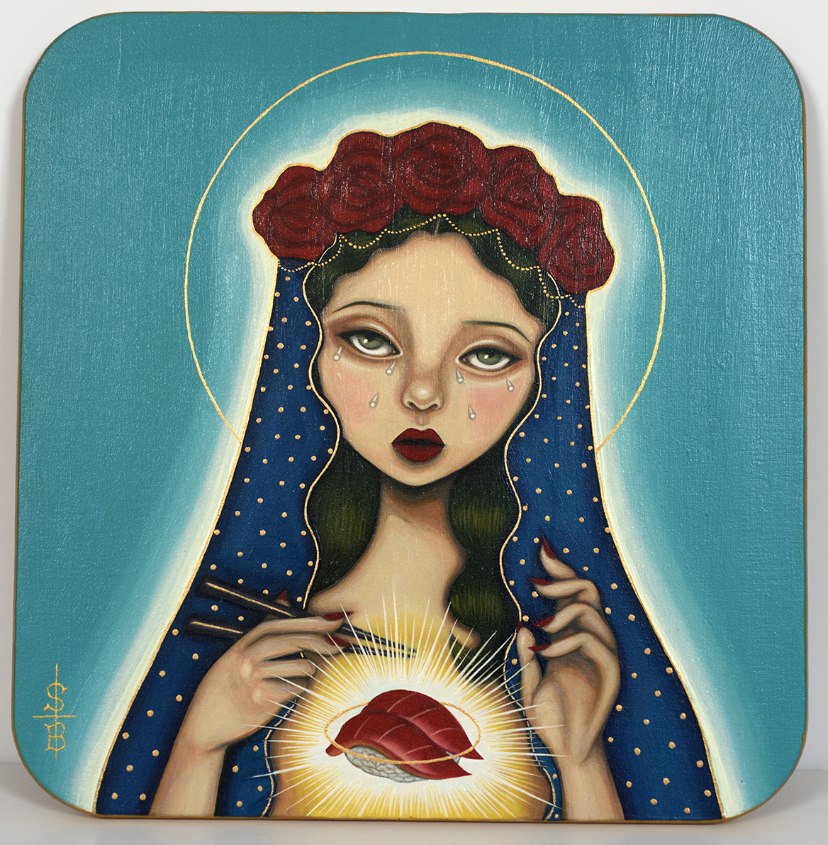 ''Our Lady of Sushi'' original painting on wood by SAKI&Bitches