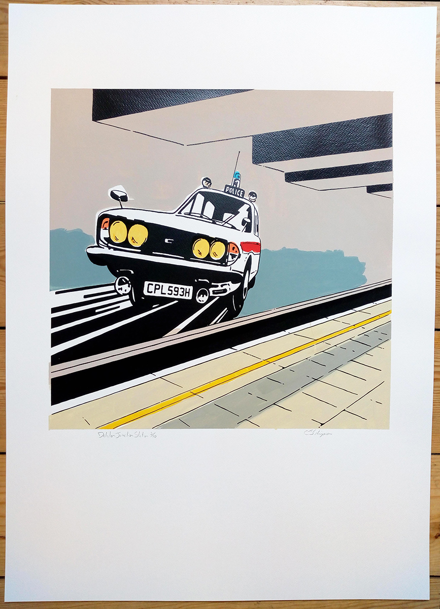 ''Dalston Junction Station'' screenprint by Carl Stimpson